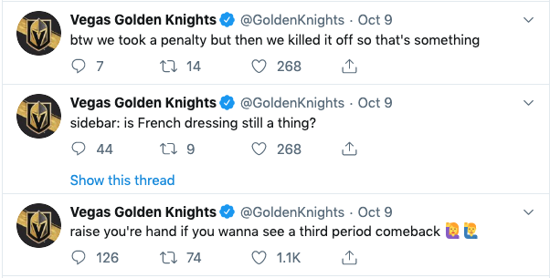 vegas golden knights twitter hockey marketing